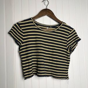 Me to We cropped yellow striped stretch top